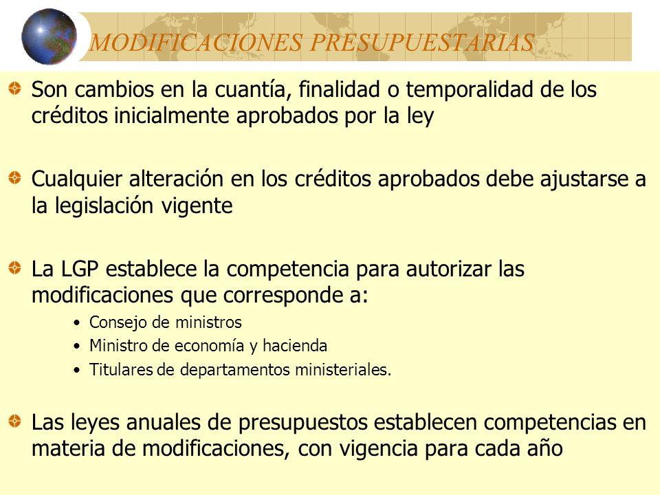 MODIFICACIONES PRESUPUESTARIAS Son cambios en la cuantía, finalidad o temporalidad de los créditos inicialmente aprobados por la ley Cualquier alterac