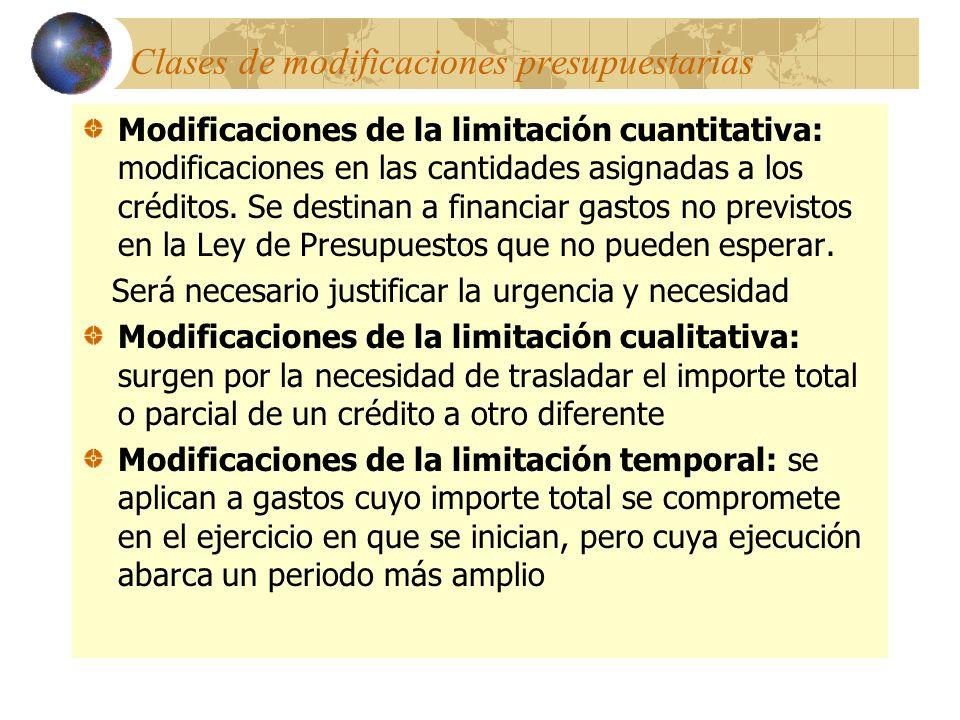 Clases de modificaciones presupuestarias Modificaciones de la limitación cuantitativa: modificaciones en las cantidades asignadas a los créditos. Se d