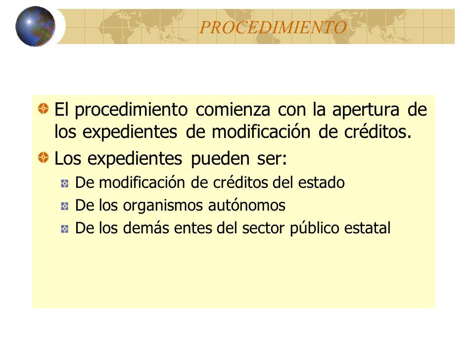 PROCEDIMIENTO El procedimiento comienza con la apertura de los expedientes de modificación de créditos. Los expedientes pueden ser: De modificación de