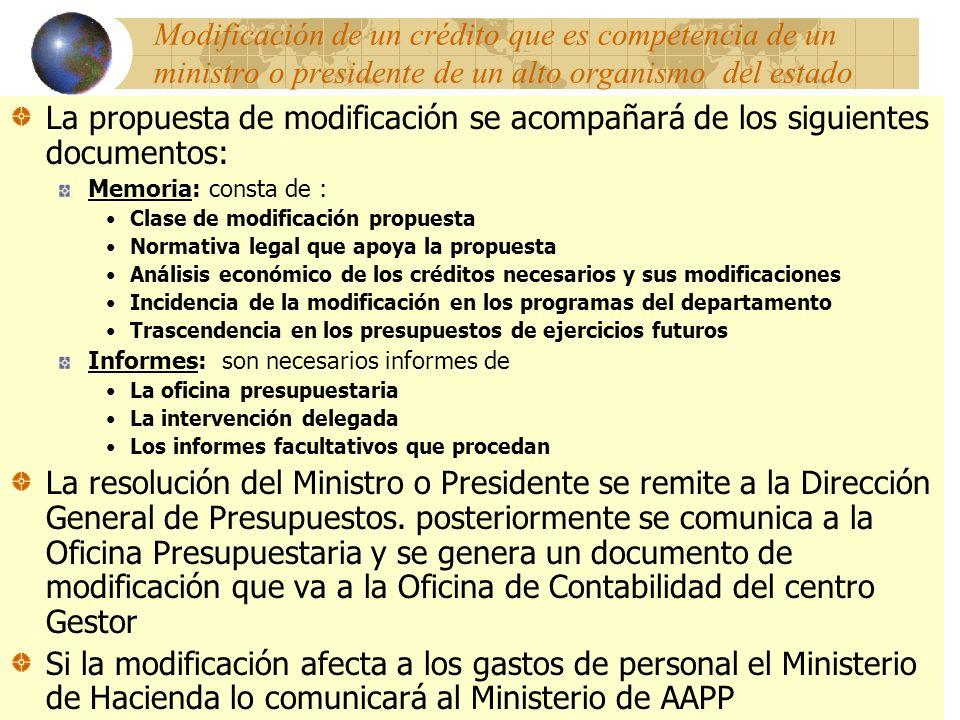 Modificación de un crédito que es competencia de un ministro o presidente de un alto organismo del estado La propuesta de modificación se acompañará d