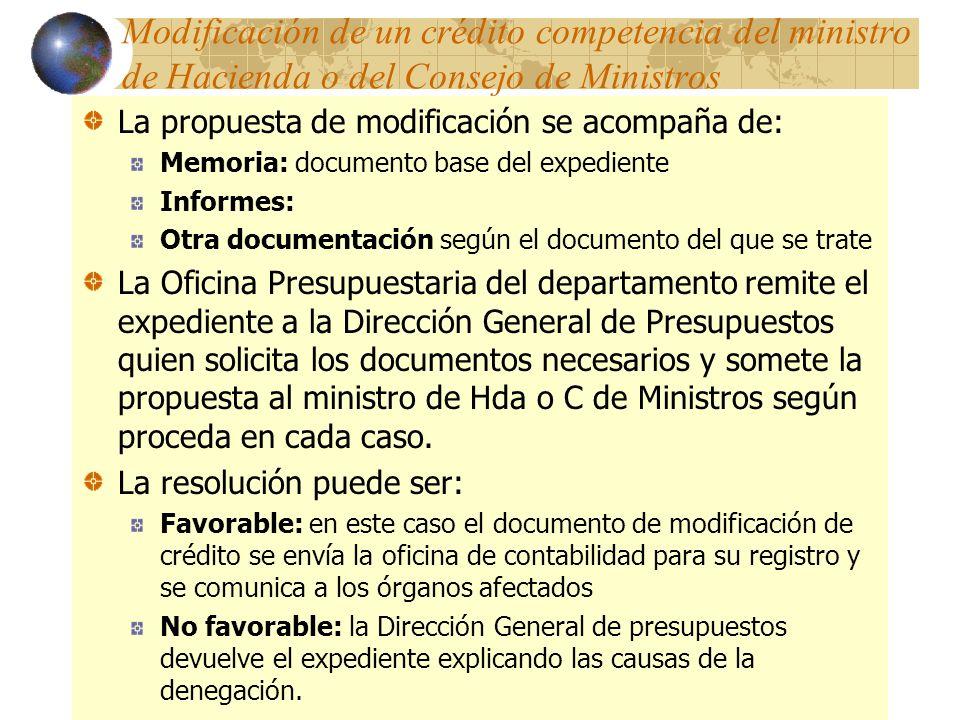Modificación de un crédito competencia del ministro de Hacienda o del Consejo de Ministros La propuesta de modificación se acompaña de: Memoria: docum