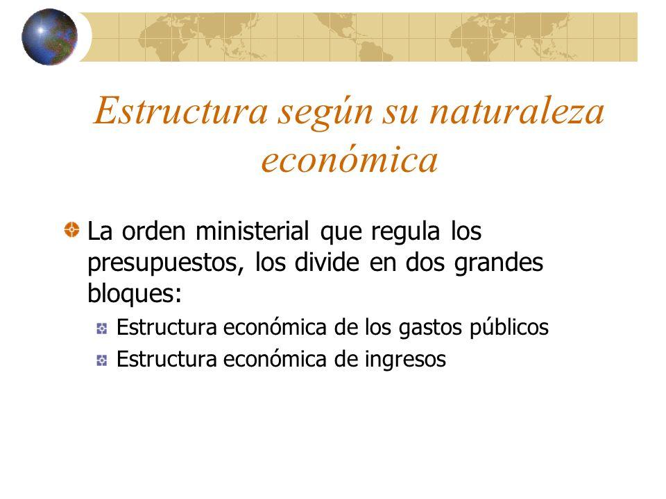 Estructura según su naturaleza económica La orden ministerial que regula los presupuestos, los divide en dos grandes bloques: Estructura económica de