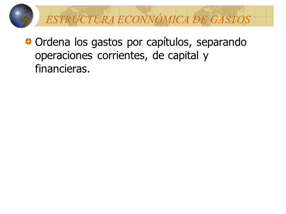 ESTRUCTURA ECONNÓMICA DE GASTOS Ordena los gastos por capítulos, separando operaciones corrientes, de capital y financieras.