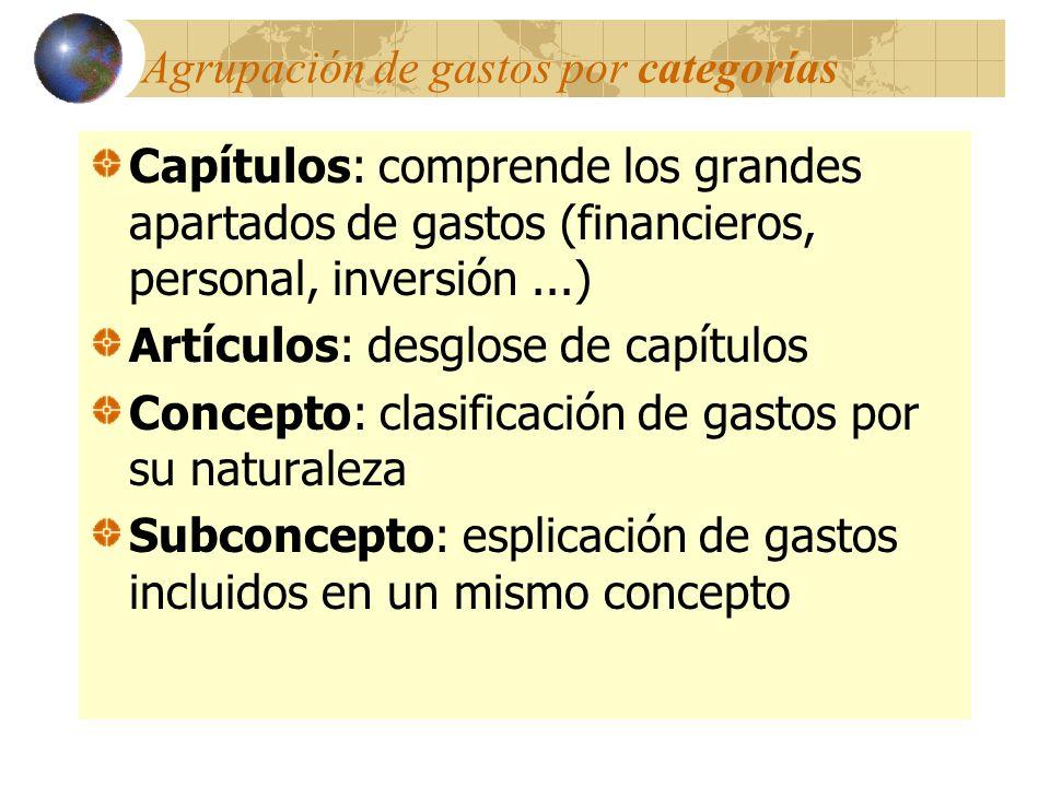 Agrupación de gastos por categorías Capítulos: comprende los grandes apartados de gastos (financieros, personal, inversión...) Artículos: desglose de