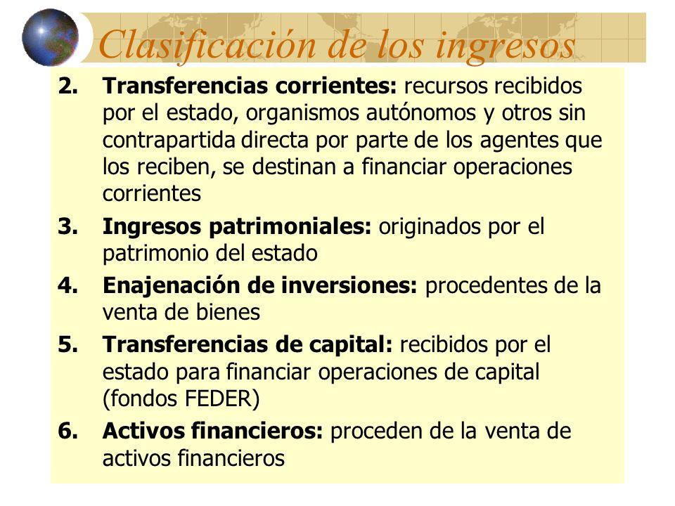 2.Transferencias corrientes: recursos recibidos por el estado, organismos autónomos y otros sin contrapartida directa por parte de los agentes que los
