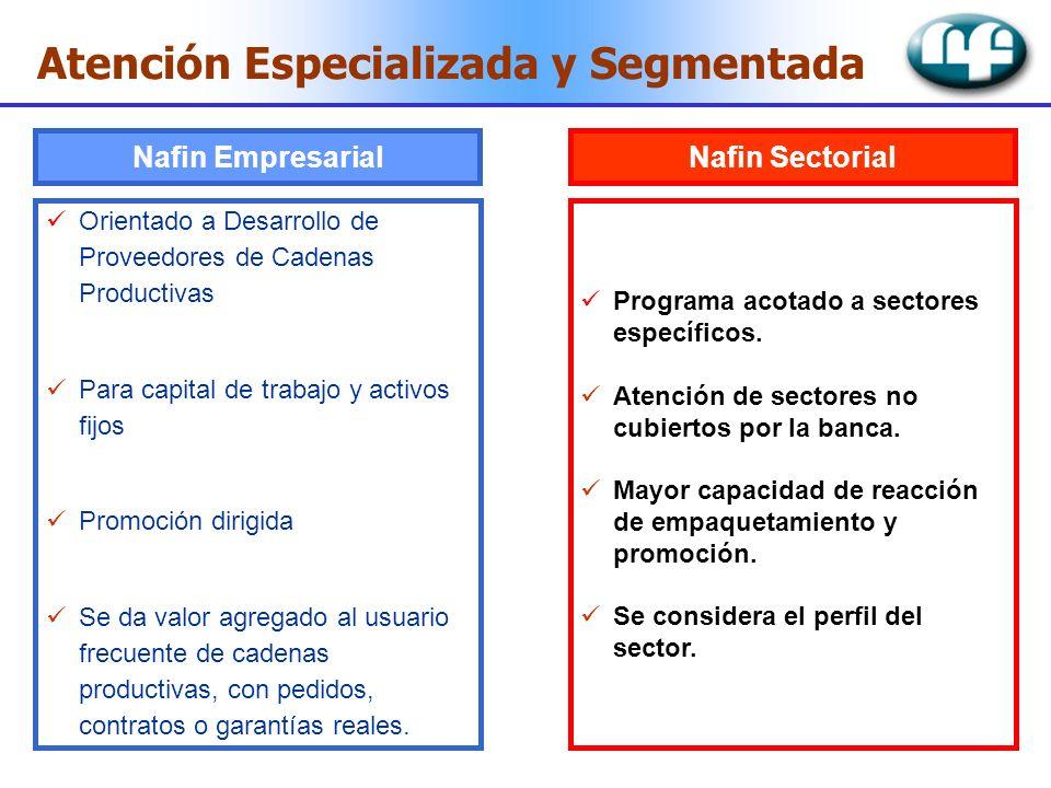 Nafin Empresarial Orientado a Desarrollo de Proveedores de Cadenas Productivas Para capital de trabajo y activos fijos Promoción dirigida Se da valor