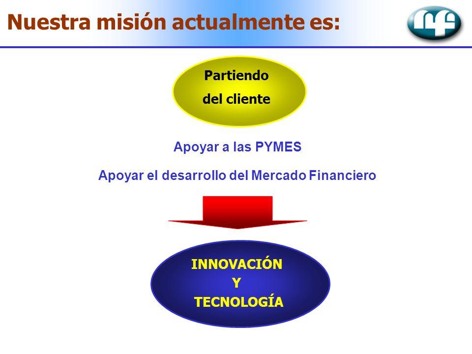Nuestra misión actualmente es: Partiendo del cliente Apoyar a las PYMES Apoyar el desarrollo del Mercado Financiero INNOVACIÓN Y TECNOLOGÍA