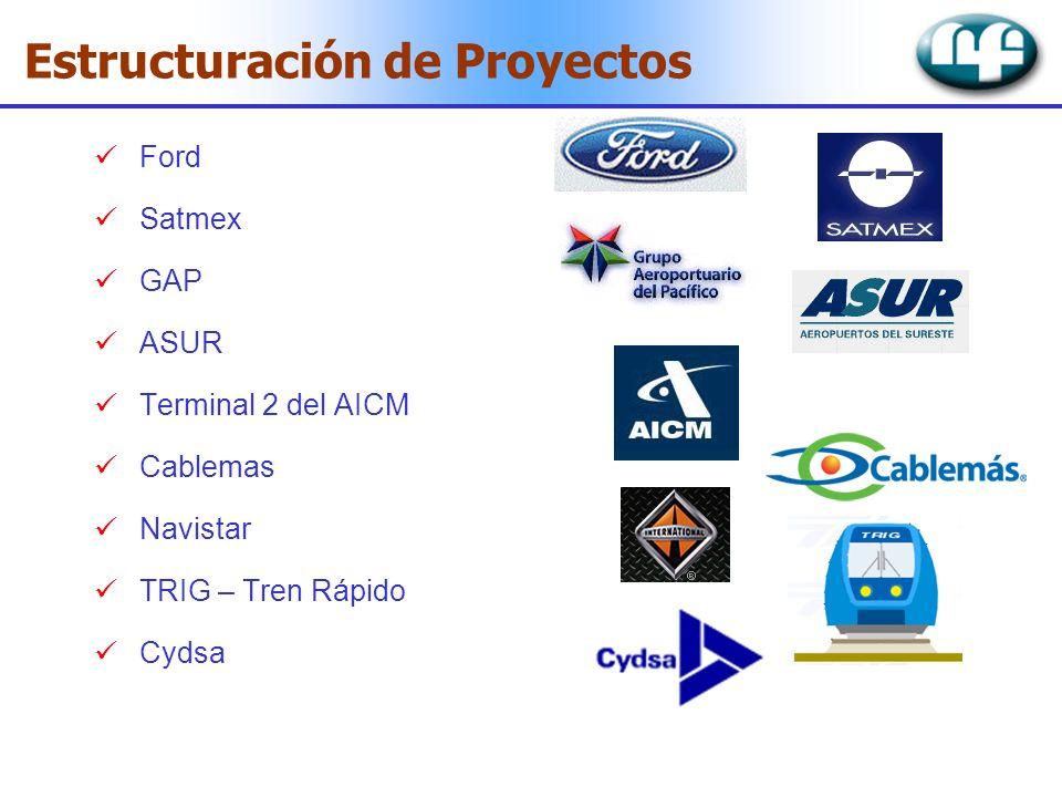 Ford Satmex GAP ASUR Terminal 2 del AICM Cablemas Navistar TRIG – Tren Rápido Cydsa Estructuración de Proyectos