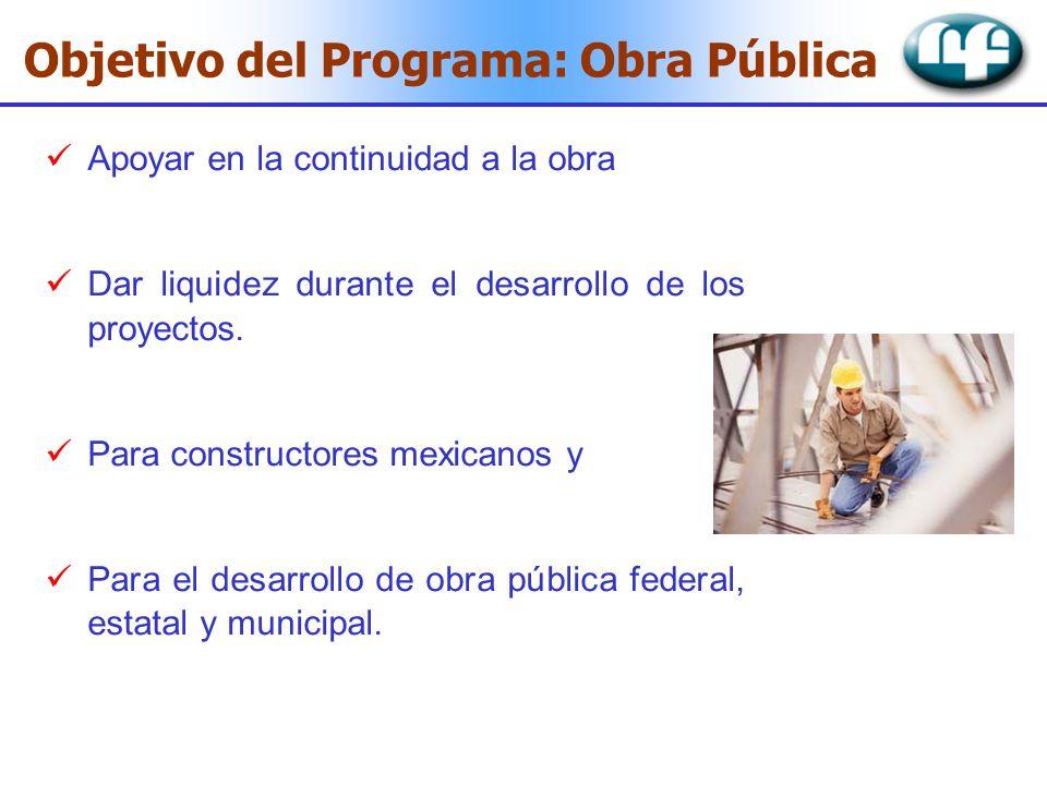 Apoyar en la continuidad a la obra Dar liquidez durante el desarrollo de los proyectos. Para constructores mexicanos y Para el desarrollo de obra públ
