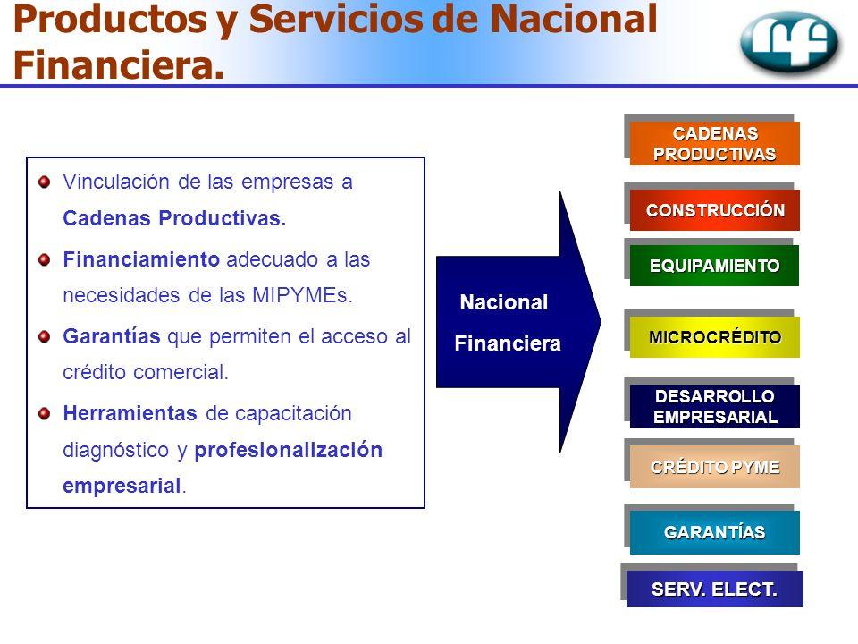 Vinculación de las empresas a Cadenas Productivas. Financiamiento adecuado a las necesidades de las MIPYMEs. Garantías que permiten el acceso al crédi