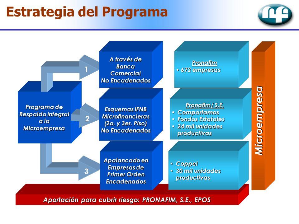 Estrategia del Programa Aportación para cubrir riesgo: PRONAFIM, S.E., EPOS Programa de Respaldo Integral a la Microempresa 3 2 1 A través de BancaCom