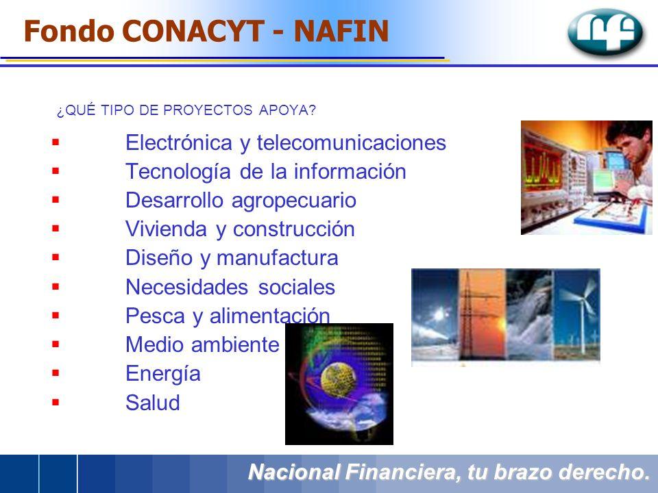 ¿QUÉ TIPO DE PROYECTOS APOYA? Nacional Financiera, tu brazo derecho. Electrónica y telecomunicaciones Tecnología de la información Desarrollo agropecu