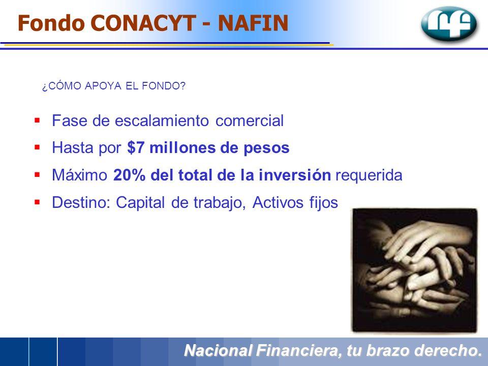 ¿CÓMO APOYA EL FONDO? Fase de escalamiento comercial Hasta por $7 millones de pesos Máximo 20% del total de la inversión requerida Destino: Capital de