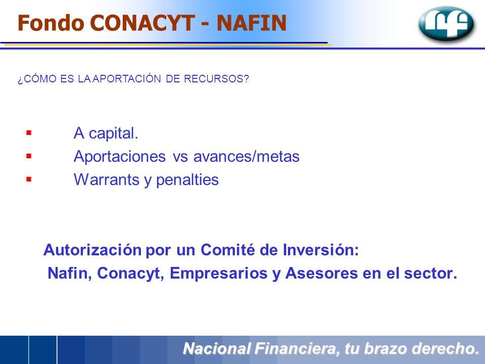 ¿CÓMO ES LA APORTACIÓN DE RECURSOS? Nacional Financiera, tu brazo derecho. A capital. Aportaciones vs avances/metas Warrants y penalties Autorización