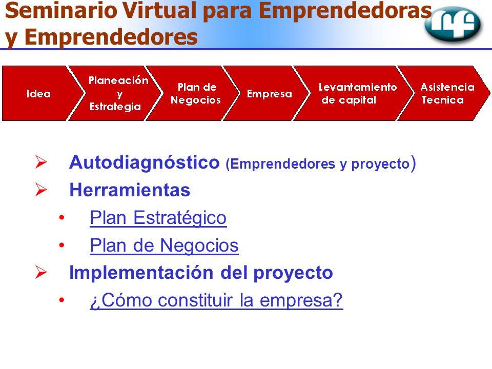 Seminario Virtual para Emprendedoras y Emprendedores Autodiagnóstico (Emprendedores y proyecto ) Herramientas Plan Estratégico Plan de Negocios Implem