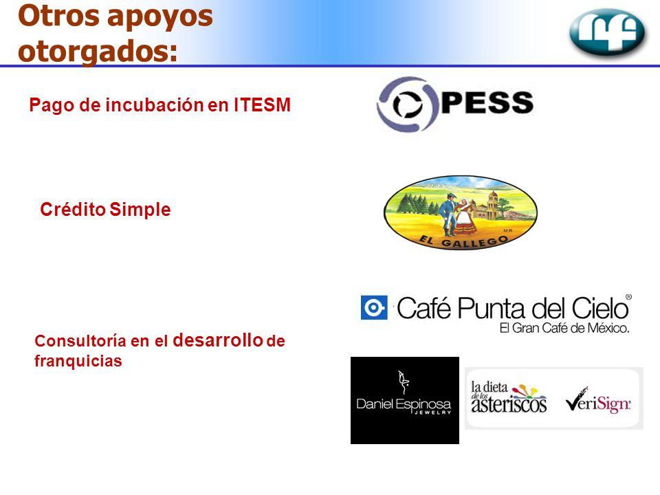 Otros apoyos otorgados: Crédito Simple Pago de incubación en ITESM Consultoría en el desarrollo de franquicias