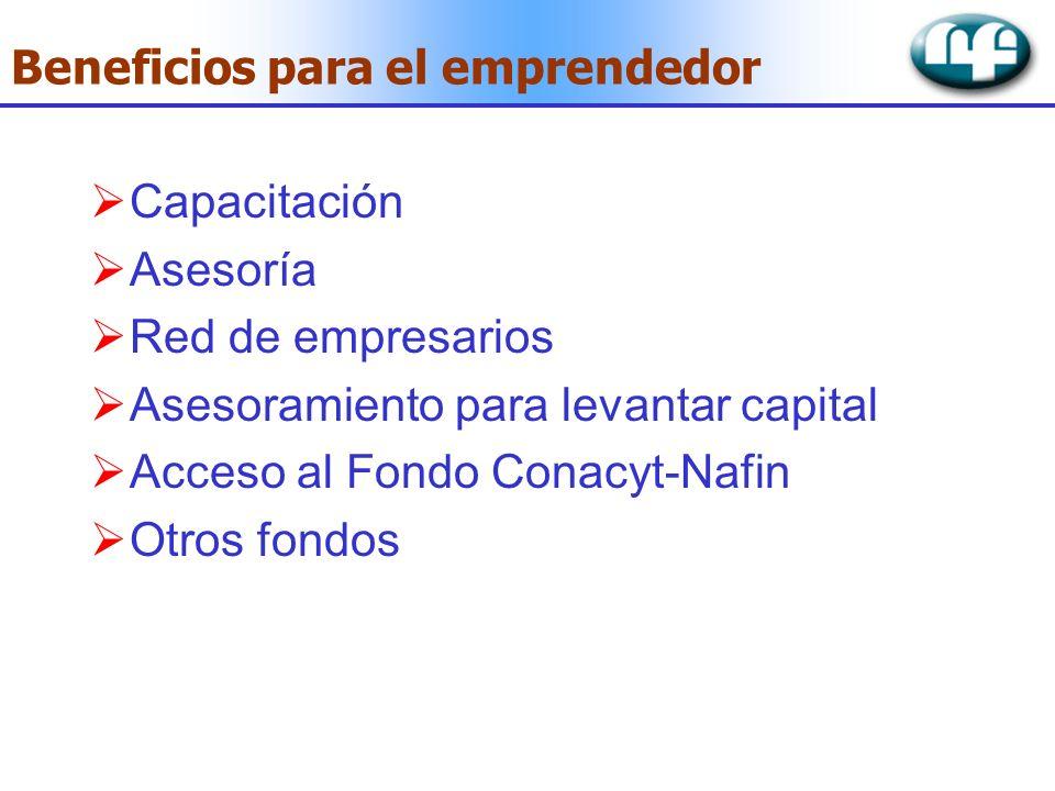 Beneficios para el emprendedor Capacitación Asesoría Red de empresarios Asesoramiento para levantar capital Acceso al Fondo Conacyt-Nafin Otros fondos