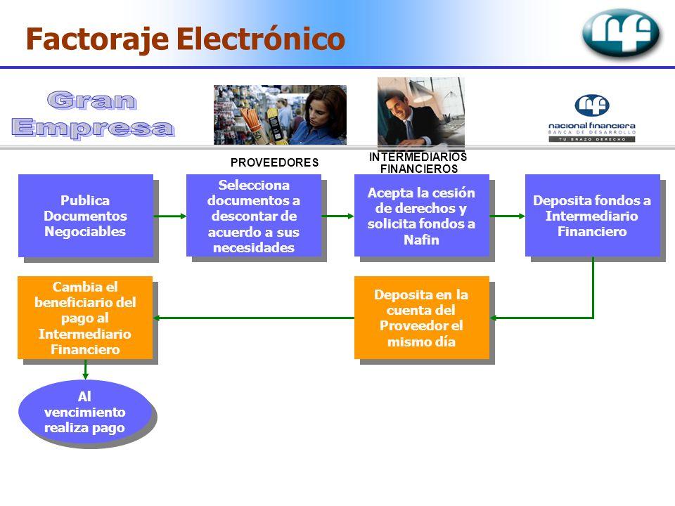 Factoraje Electrónico Publica Documentos Negociables Selecciona documentos a descontar de acuerdo a sus necesidades Acepta la cesión de derechos y sol