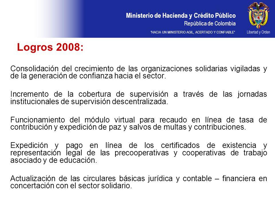 Ministerio de Hacienda y Crédito Público República de Colombia HACIA UN MINISTERIO AGIL, ACERTADO Y CONFIABLE Retos 2009: Incrementar la presencia de la Superintendencia en las regiones.