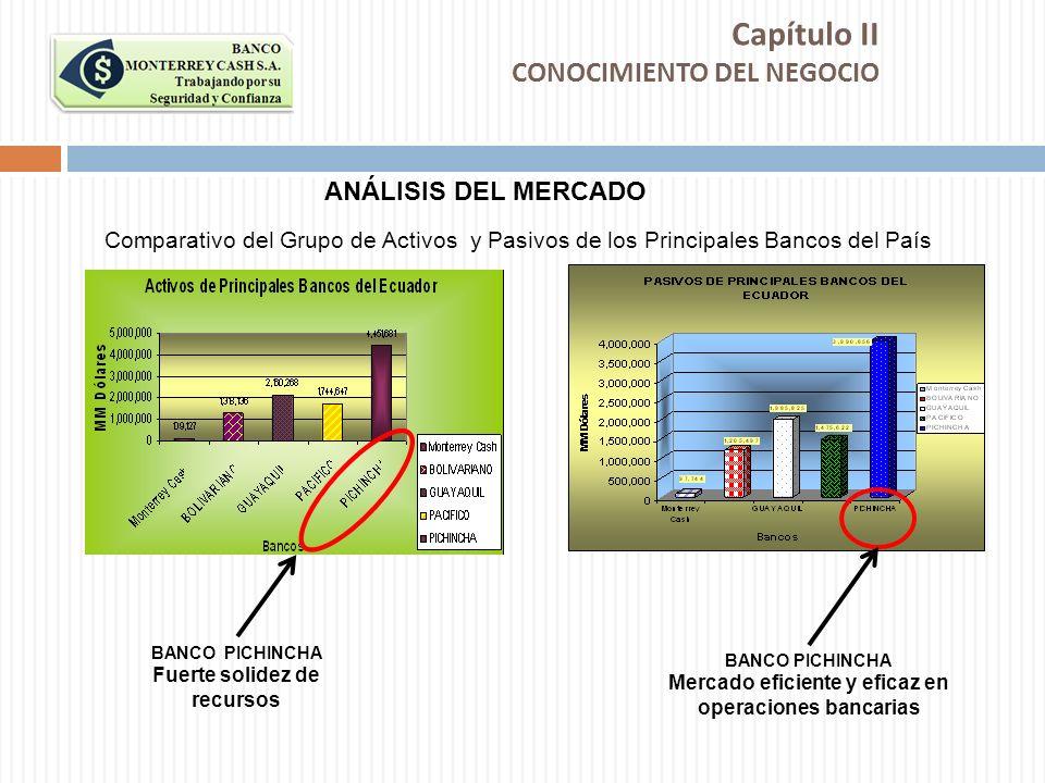 Capítulo II CONOCIMIENTO DEL NEGOCIO ANÁLISIS DEL MERCADO Comparativo del Grupo de Activos y Pasivos de los Principales Bancos del País BANCO PICHINCH