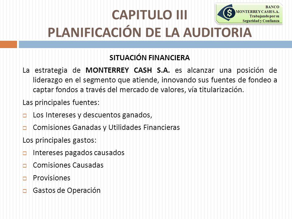 CAPITULO III PLANIFICACIÓN DE LA AUDITORIA SITUACIÓN FINANCIERA La estrategia de MONTERREY CASH S.A. es alcanzar una posición de liderazgo en el segme