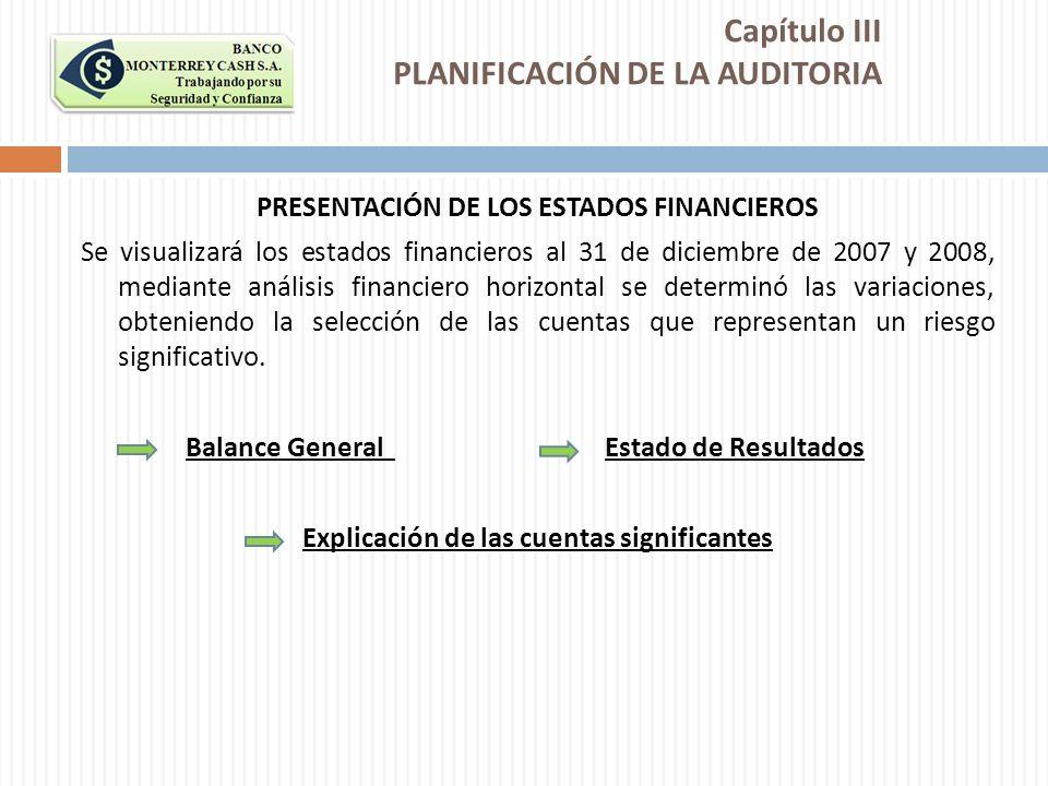 Capítulo III PLANIFICACIÓN DE LA AUDITORIA PRESENTACIÓN DE LOS ESTADOS FINANCIEROS Se visualizará los estados financieros al 31 de diciembre de 2007 y
