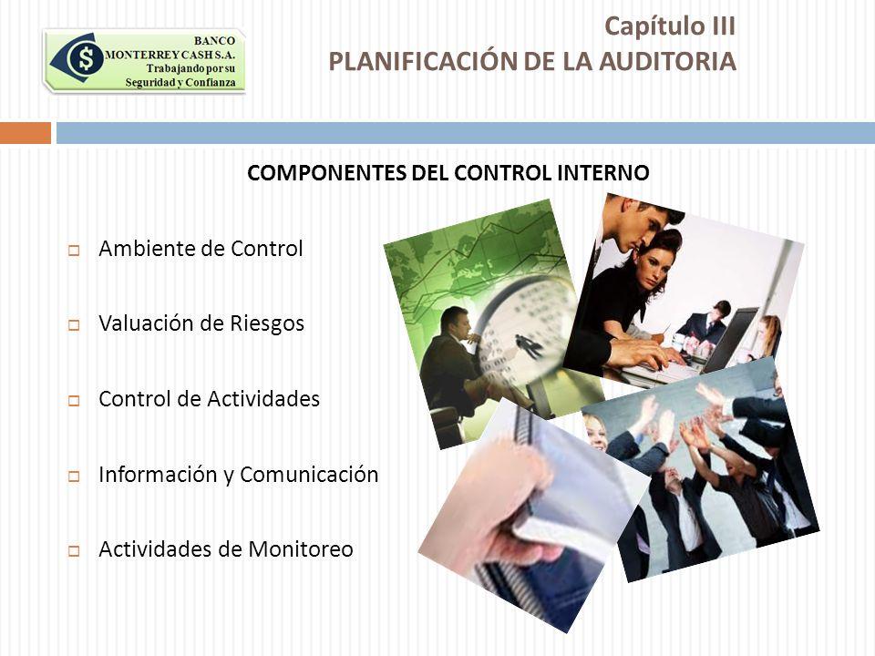 COMPONENTES DEL CONTROL INTERNO Ambiente de Control Valuación de Riesgos Control de Actividades Información y Comunicación Actividades de Monitoreo Ca