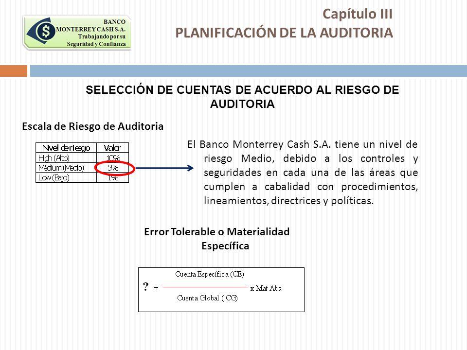 El Banco Monterrey Cash S.A. tiene un nivel de riesgo Medio, debido a los controles y seguridades en cada una de las áreas que cumplen a cabalidad con