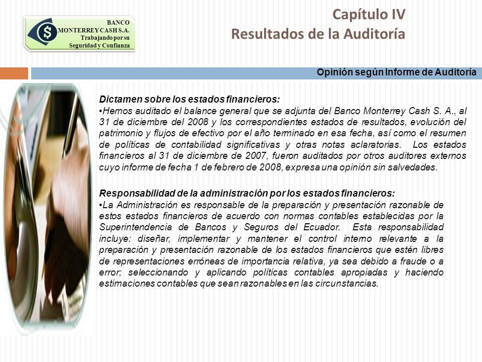 Capítulo IV Resultados de la Auditoría Opinión según Informe de Auditoría Dictamen sobre los estados financieros: Hemos auditado el balance general qu