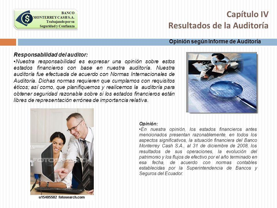 Capítulo IV Resultados de la Auditoría Opinión según Informe de Auditoría Responsabilidad del auditor: Nuestra responsabilidad es expresar una opinión