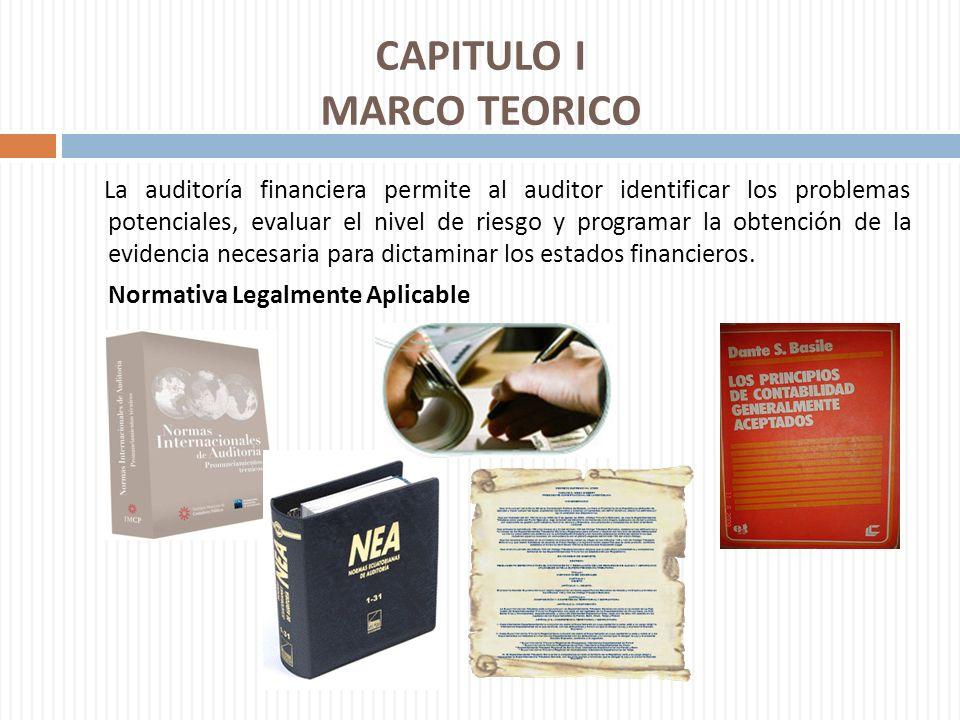 CAPITULO I MARCO TEORICO La auditoría financiera permite al auditor identificar los problemas potenciales, evaluar el nivel de riesgo y programar la o