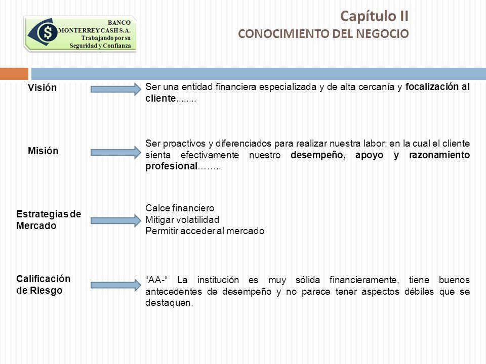 Capítulo II CONOCIMIENTO DEL NEGOCIO Visión Ser una entidad financiera especializada y de alta cercanía y focalización al cliente........ Misión Ser p