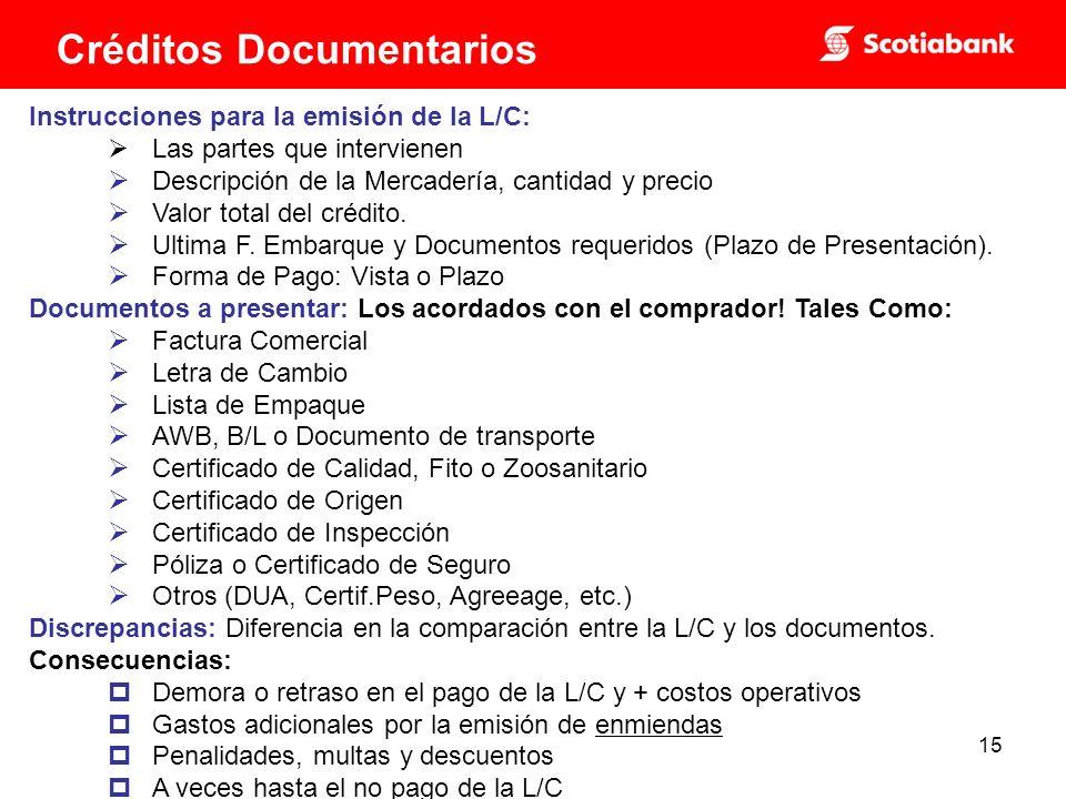 15 Instrucciones para la emisión de la L/C: Las partes que intervienen Descripción de la Mercadería, cantidad y precio Valor total del crédito.