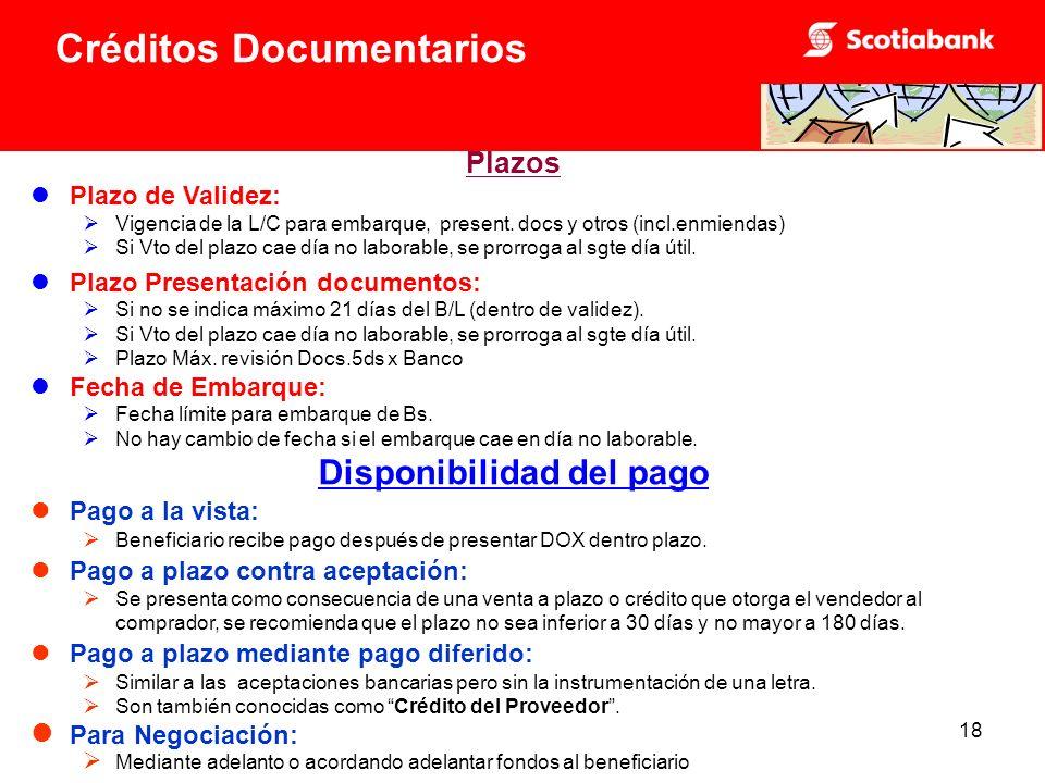 18 Plazos Plazo de Validez: Vigencia de la L/C para embarque, present.