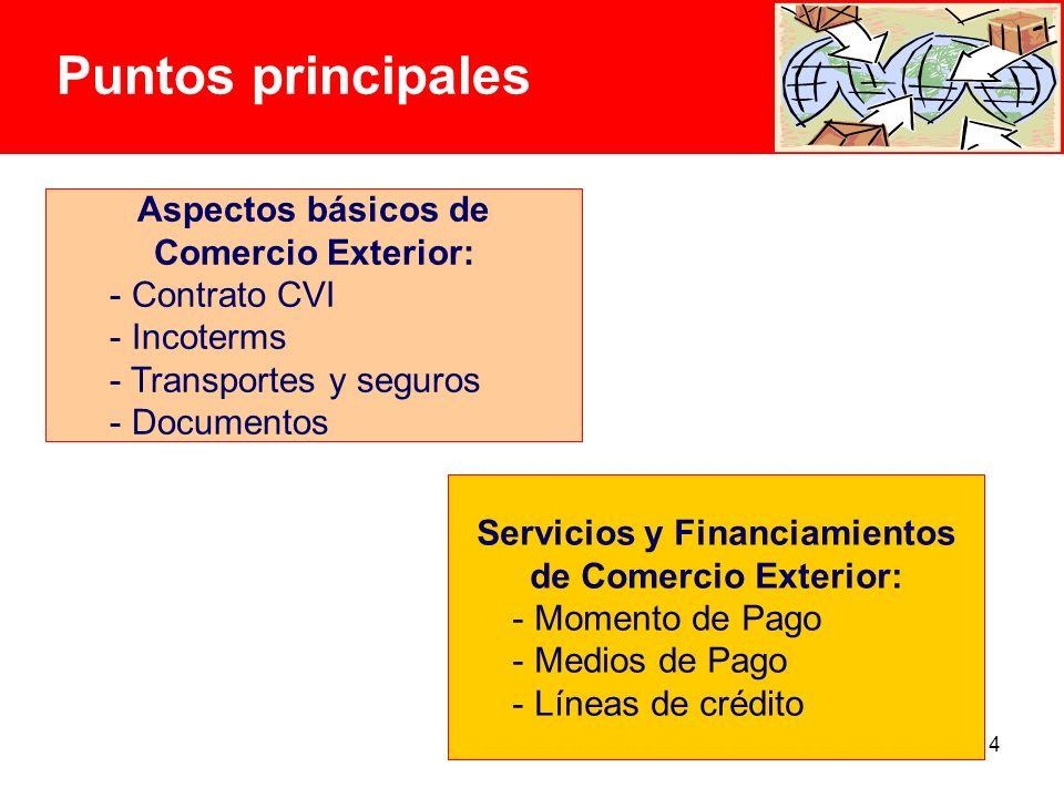 4 Puntos principales Aspectos básicos de Comercio Exterior: - Contrato CVI - Incoterms - Transportes y seguros - Documentos Servicios y Financiamientos de Comercio Exterior: - Momento de Pago - Medios de Pago - Líneas de crédito