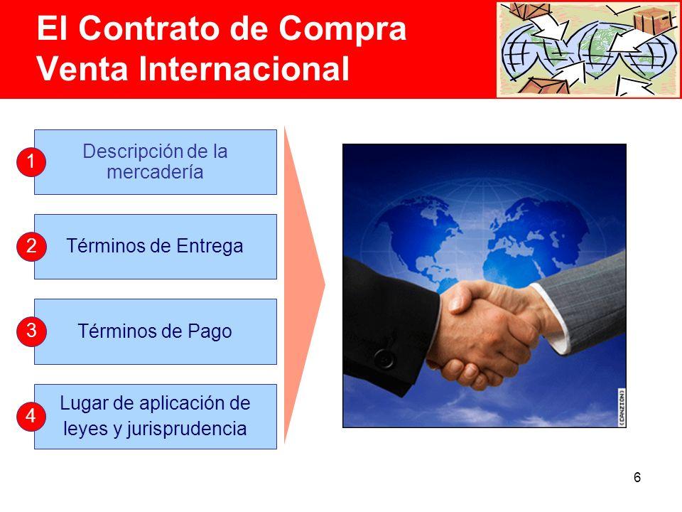 6 Descripción de la mercadería 1 Términos de Entrega 2 Términos de Pago 3 Lugar de aplicación de leyes y jurisprudencia 4 El Contrato de Compra Venta Internacional