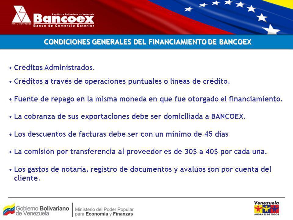 CONDICIONES GENERALES DEL FINANCIAMIENTO DE BANCOEX Créditos Administrados.