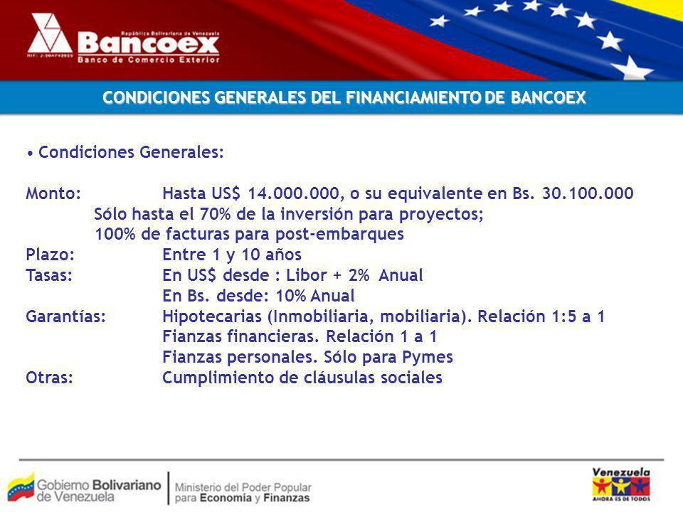 Condiciones Generales: Monto: Hasta US$ 14.000.000, o su equivalente en Bs.