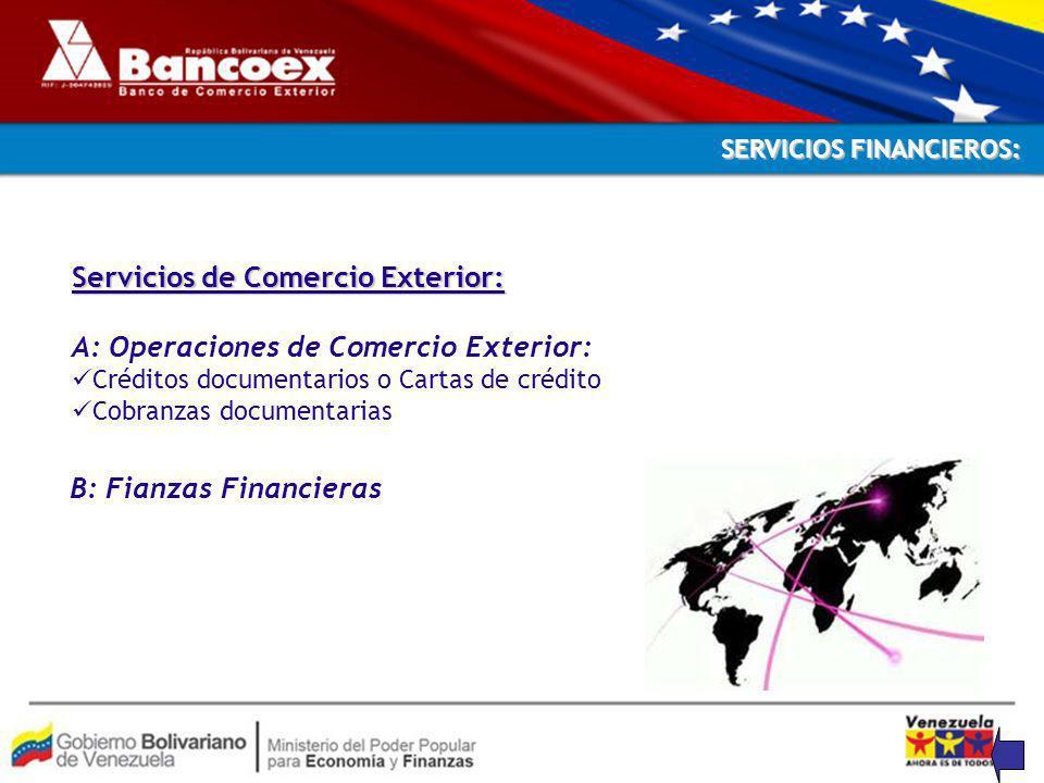 B: Fianzas Financieras SERVICIOS FINANCIEROS: Servicios de Comercio Exterior: A: Operaciones de Comercio Exterior: Créditos documentarios o Cartas de crédito Cobranzas documentarias