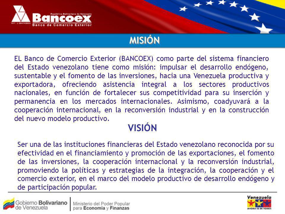 Ser una de las instituciones financieras del Estado venezolano reconocida por su efectividad en el financiamiento y promoción de las exportaciones, el fomento de las inversiones, la cooperación internacional y la reconversión industrial, promoviendo la políticas y estrategias de la integración, la cooperación y el comercio exterior, en el marco del modelo productivo de desarrollo endógeno y de participación popular.