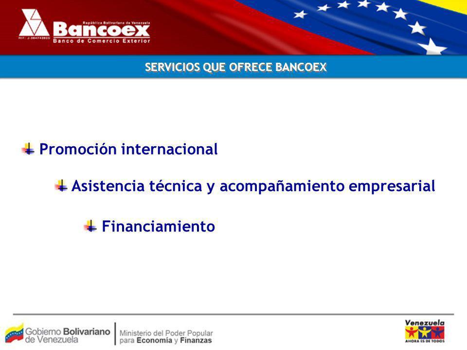 SERVICIOS QUE OFRECE BANCOEX Promoción internacional Asistencia técnica y acompañamiento empresarial Financiamiento
