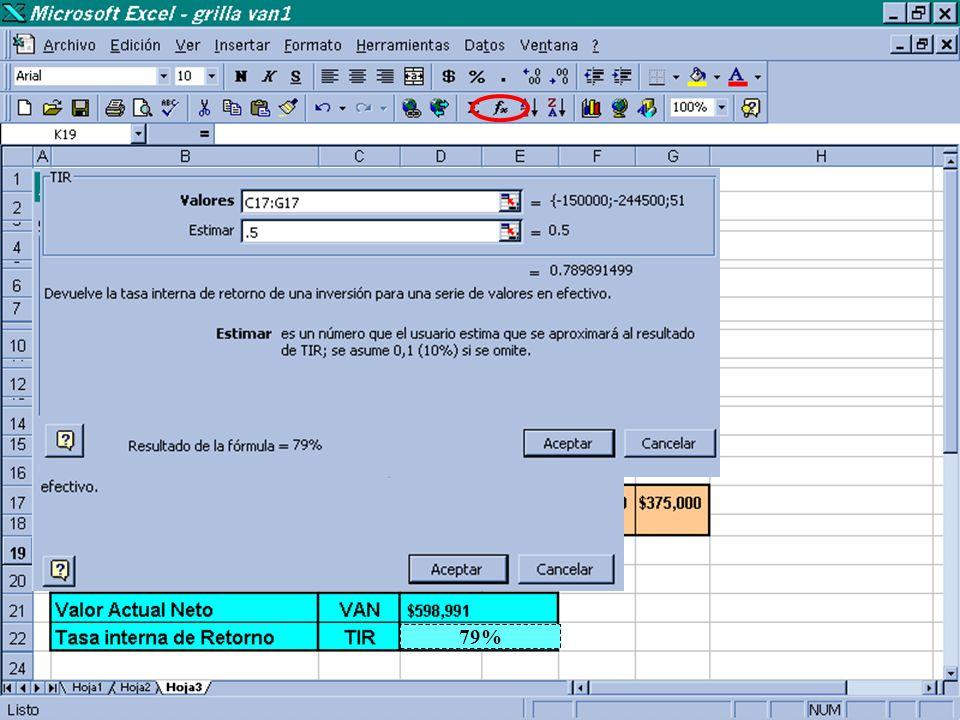 Forma de utilizar las fórmulas de la Barra de Herramientas de EXCEL =VNA(0.14,D17:G17) +C17 $ 598991