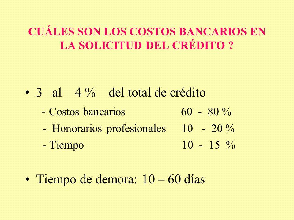 CUÁLES SON LOS COSTOS BANCARIOS EN LA SOLICITUD DEL CRÉDITO .