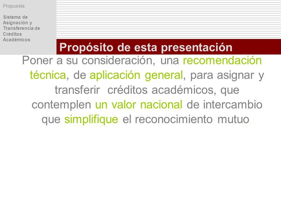 Propuesta: Sistema de Asignación y Transferencia de Créditos Académicos Poner a su consideración, una recomendación técnica, de aplicación general, pa