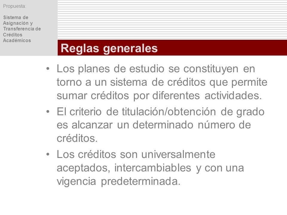 Propuesta: Sistema de Asignación y Transferencia de Créditos Académicos Reglas generales Los planes de estudio se constituyen en torno a un sistema de