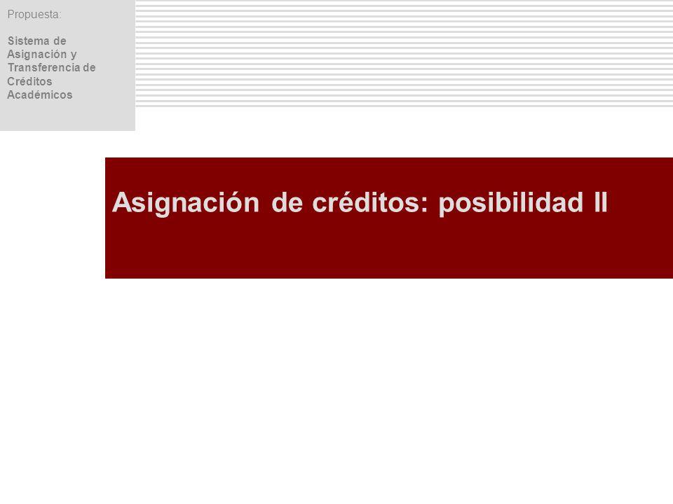 Propuesta: Sistema de Asignación y Transferencia de Créditos Académicos Asignación de créditos: posibilidad II