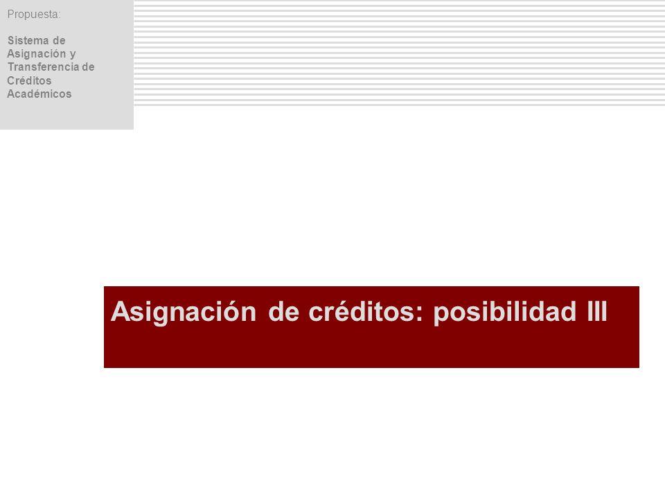 Propuesta: Sistema de Asignación y Transferencia de Créditos Académicos Asignación de créditos: posibilidad III