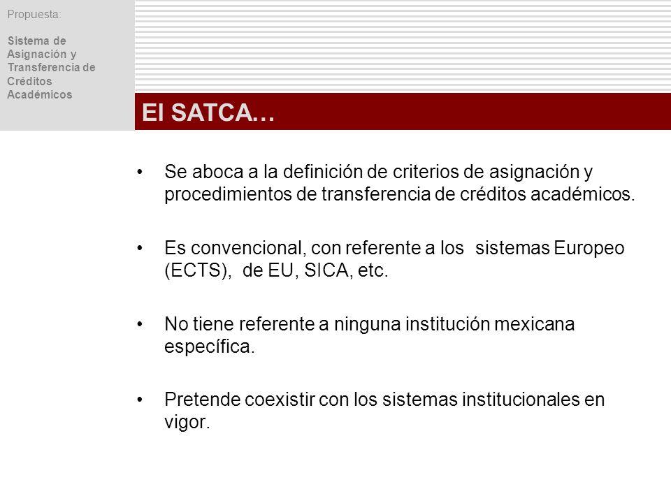 Propuesta: Sistema de Asignación y Transferencia de Créditos Académicos El SATCA… Se aboca a la definición de criterios de asignación y procedimientos