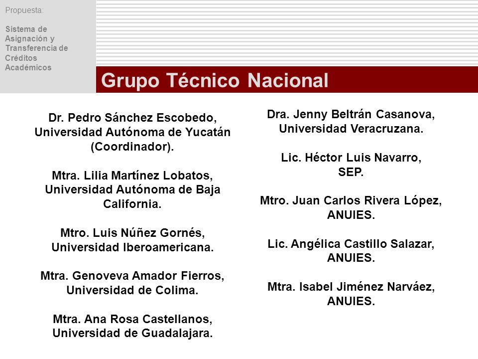 Propuesta: Sistema de Asignación y Transferencia de Créditos Académicos Grupo Técnico Nacional Dra. Jenny Beltrán Casanova, Universidad Veracruzana. L
