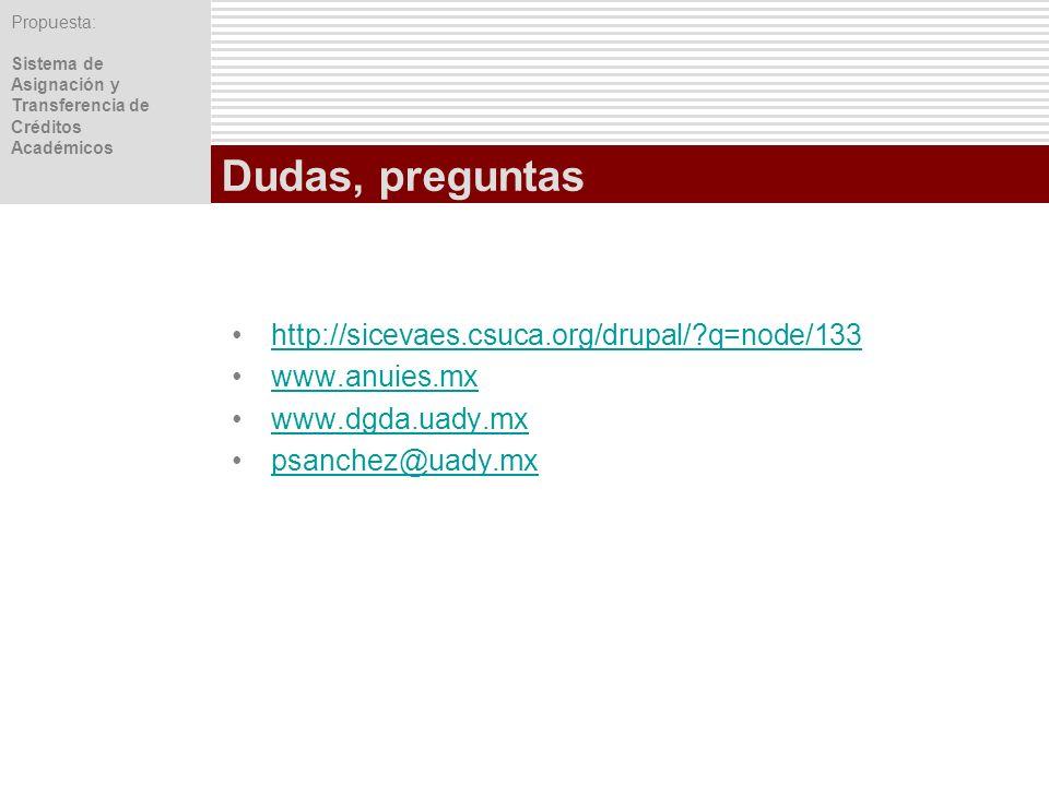 Propuesta: Sistema de Asignación y Transferencia de Créditos Académicos Dudas, preguntas http://sicevaes.csuca.org/drupal/?q=node/133 www.anuies.mx ww